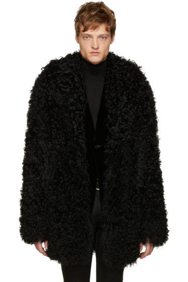 Saint Laurent - Black Shag Grunge Shearling Coat