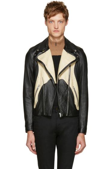 Saint Laurent - Black Leather & Python Jacket