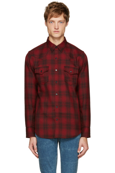 Saint Laurent - Red Plaid Western Shirt