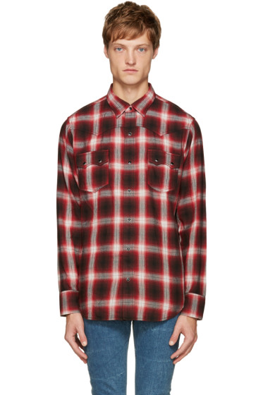 Saint Laurent - Red & Black Check Shirt