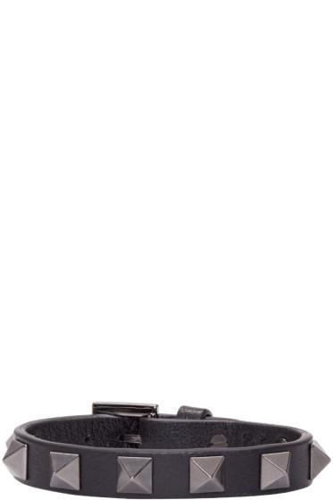 Valentino - Black Leather Rockstud Bracelet