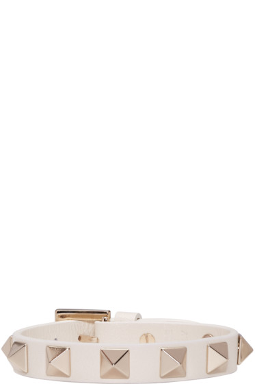 Valentino - Ivory Leather Rockstud Bracelet