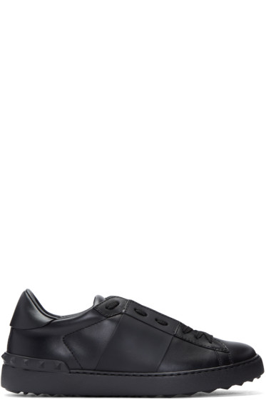 Valentino - Black Leather Open Sneakers