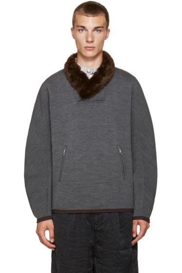 Kolor - Grey Stretch-Wool Pullover
