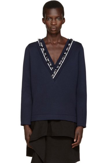 Mother of Pearl - Navy Embellished Georgia Pullover