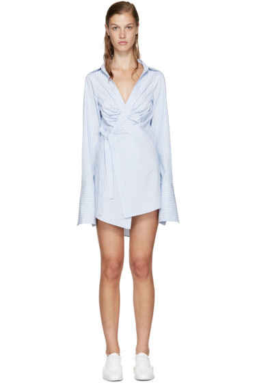 Jacquemus - White & Blue Striped Wrap Shirt
