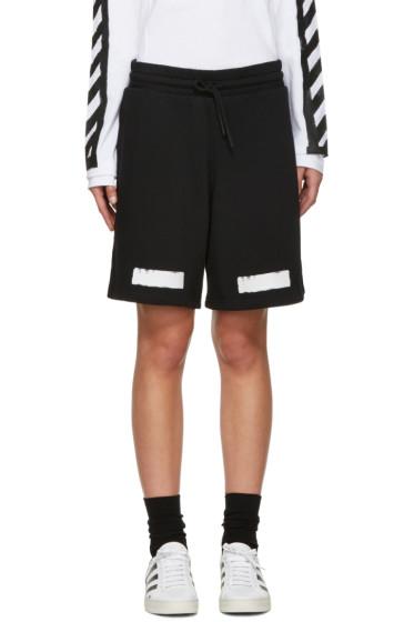 Off-White - Black Brushed Diagonals Lounge Shorts