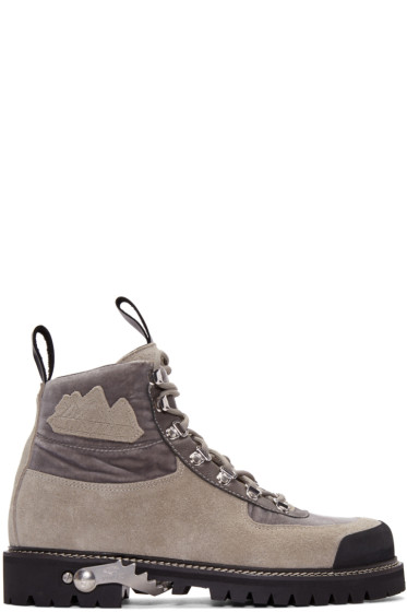 Off-White - Grey Suede & Velvet Trimmed Hiking Boots