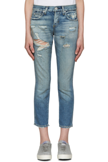 Amo - Blue Distressed Tomboy Crop Jeans