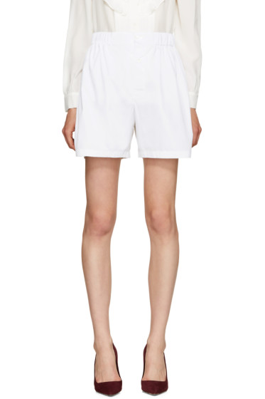 Miu Miu - White Poplin Oversized Shorts