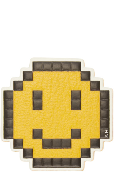 Anya Hindmarch - Yellow Leather Pixelated Smiley Sticker