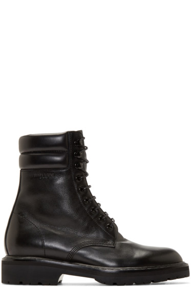 Saint Laurent - Black Leather High Combat Boots
