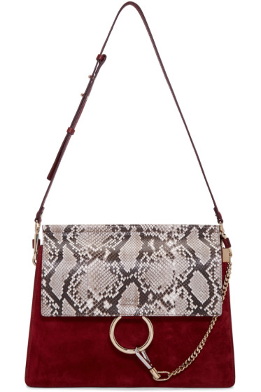chloe black python medium faye bag