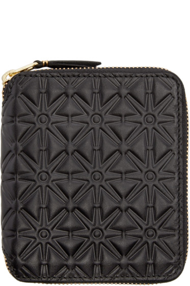 Comme des Garçons Wallets - Black Embossed Leather Line 125 Wallet