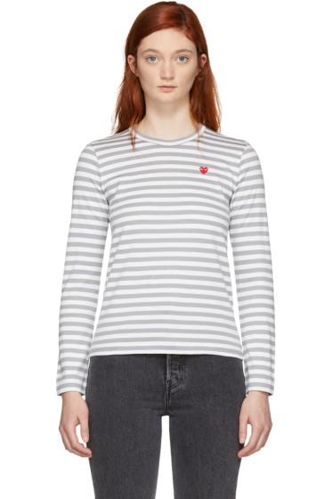 Comme des Garçons Play - White & Grey Striped Heart Patch T-Shirt