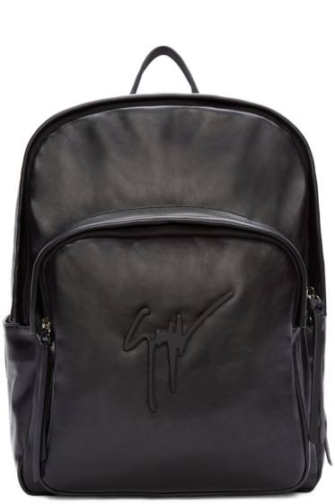 Giuseppe Zanotti - Black Buffed Leather Logo Backpack