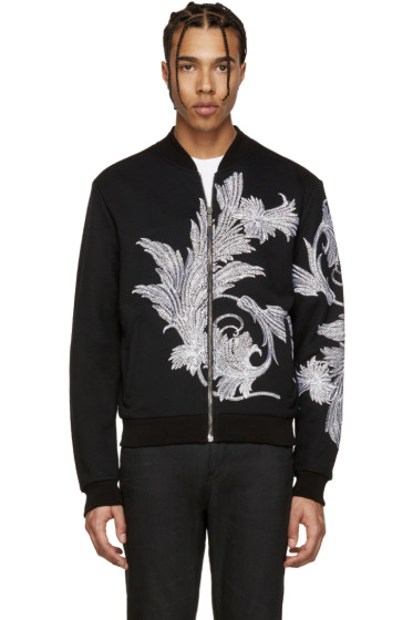 Versace - Black Embroidered Leaf Zip-Up Sweater
