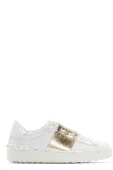 Valentino - White & Gold Open Low-Top Sneakers