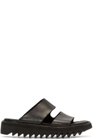 Guidi - Black Leather Double Strap Sandals