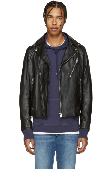 Diesel - Black Leather L-Beck Biker Jacket