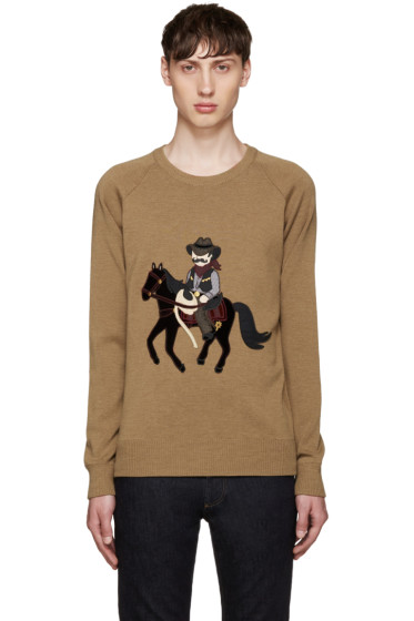 Dolce & Gabbana - Tan Cowboy and Horse Sweater