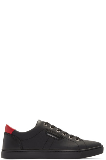 Dolce & Gabbana - Black & Red Textured Leather Sneakers