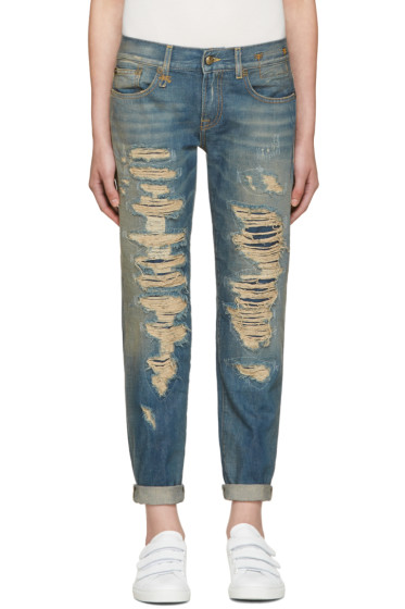 R13 - Blue Relaxed Skinny Jeans