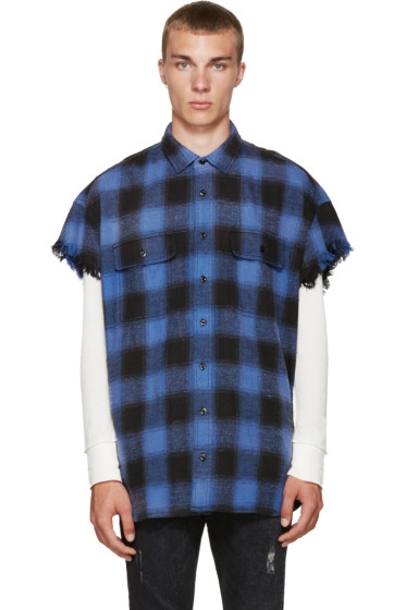 R13 - Blue Check Cut-Off Shirt