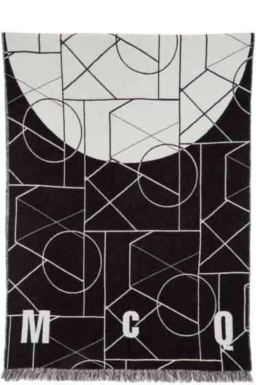 McQ Alexander Mcqueen - Black & Off-White Geometric Scarf