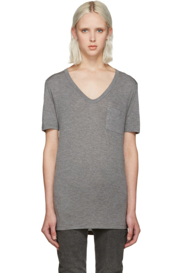 T by Alexander Wang - Grey Jersey Pocket T-Shirt
