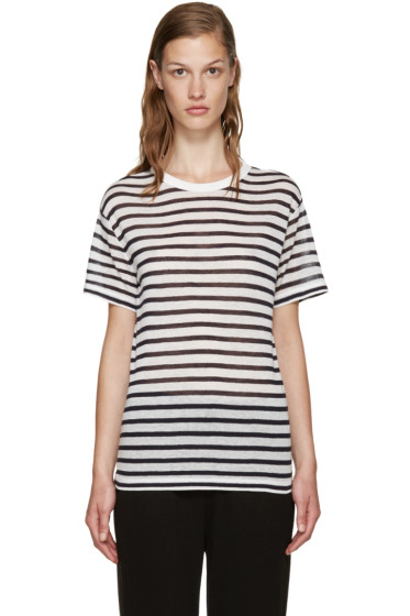 T by Alexander Wang - Blue & Ivory Striped T-Shirt