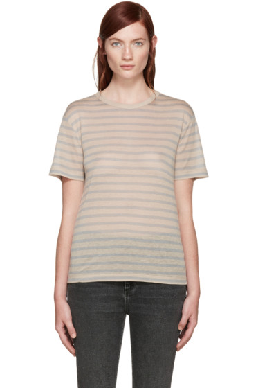 T by Alexander Wang - Beige & Grey Jersey T-Shirt