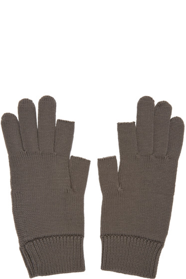 Rick Owens - Grey Knit Gloves