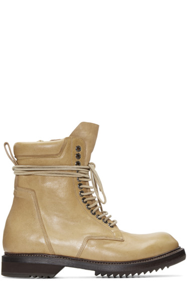 Rick Owens - Camel Leather Army Boots
