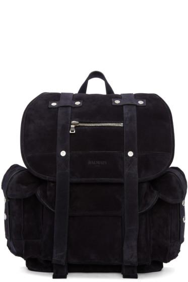 Balmain - Navy Suede Backpack
