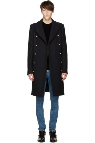 Balmain - Navy Double-Breasted Wool Coat