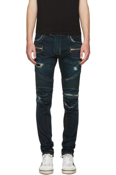 Balmain - Blue Washed Biker Jeans