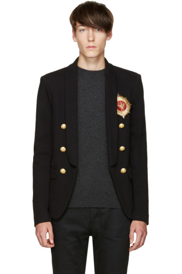 Balmain - Black Embroidered Blazer