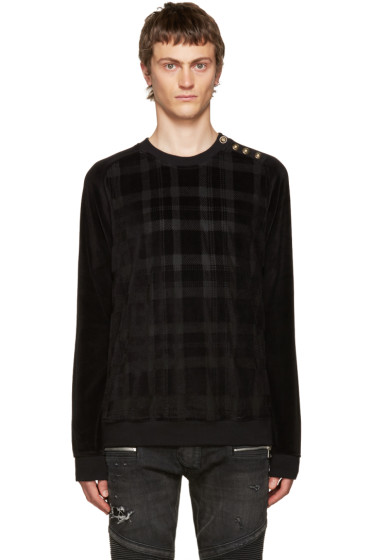 Balmain - Black Velvet Check Pullover