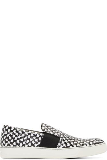 Lanvin - Black & White Woven Slip-On Sneakers