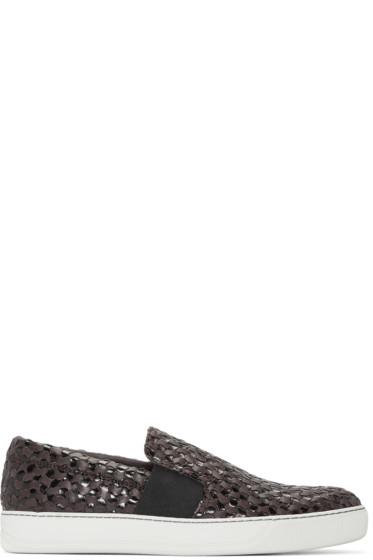 Lanvin - Brown Woven Slip-On Sneakers