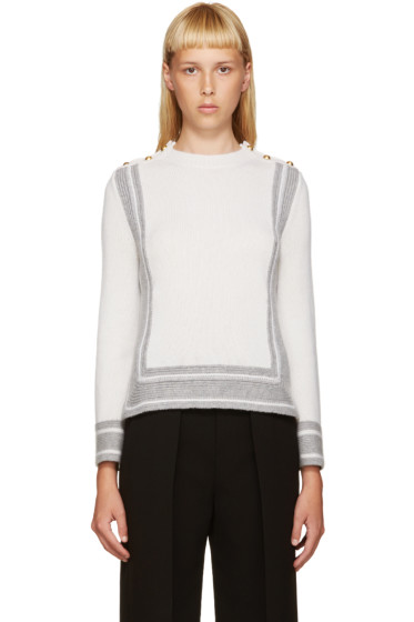 Alexander McQueen - Ivory & Grey Geometric Sweater