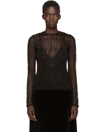 Alexander McQueen - Black Punk Floral Lace Top