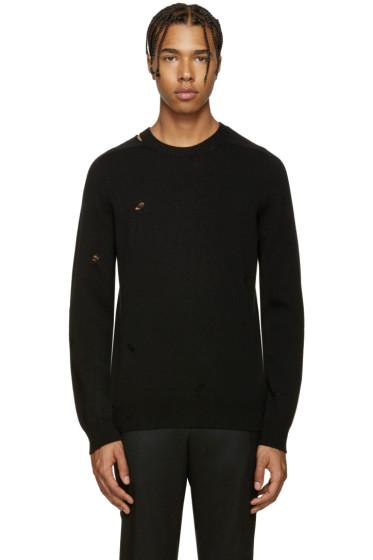 Alexander McQueen - Black Cashmere Distressed Sweater