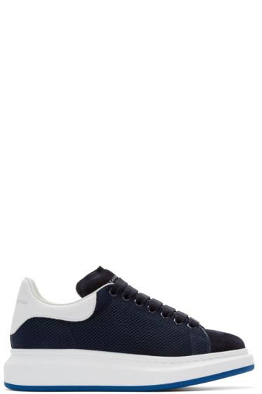 Alexander McQueen - Navy & White Mesh Sneakers