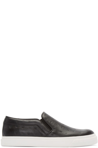 Alexander McQueen - Black Embossed Skull Slip-On Sneakers