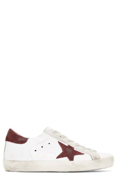 Golden Goose - White & Purple Superstar Sneakers