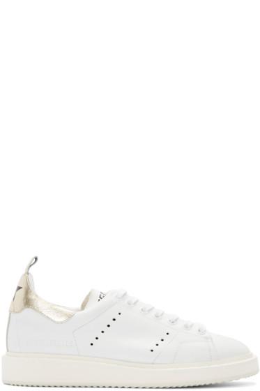 Golden Goose - White & Gold Starter Sneakers