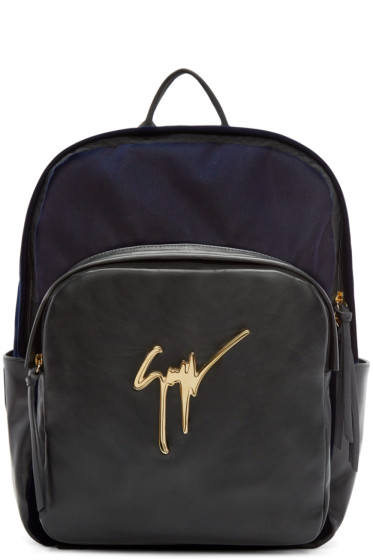Giuseppe Zanotti - Navy & Black Velvet Veronica Backpack