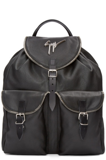 Giuseppe Zanotti - Black Leather Boris Backpack